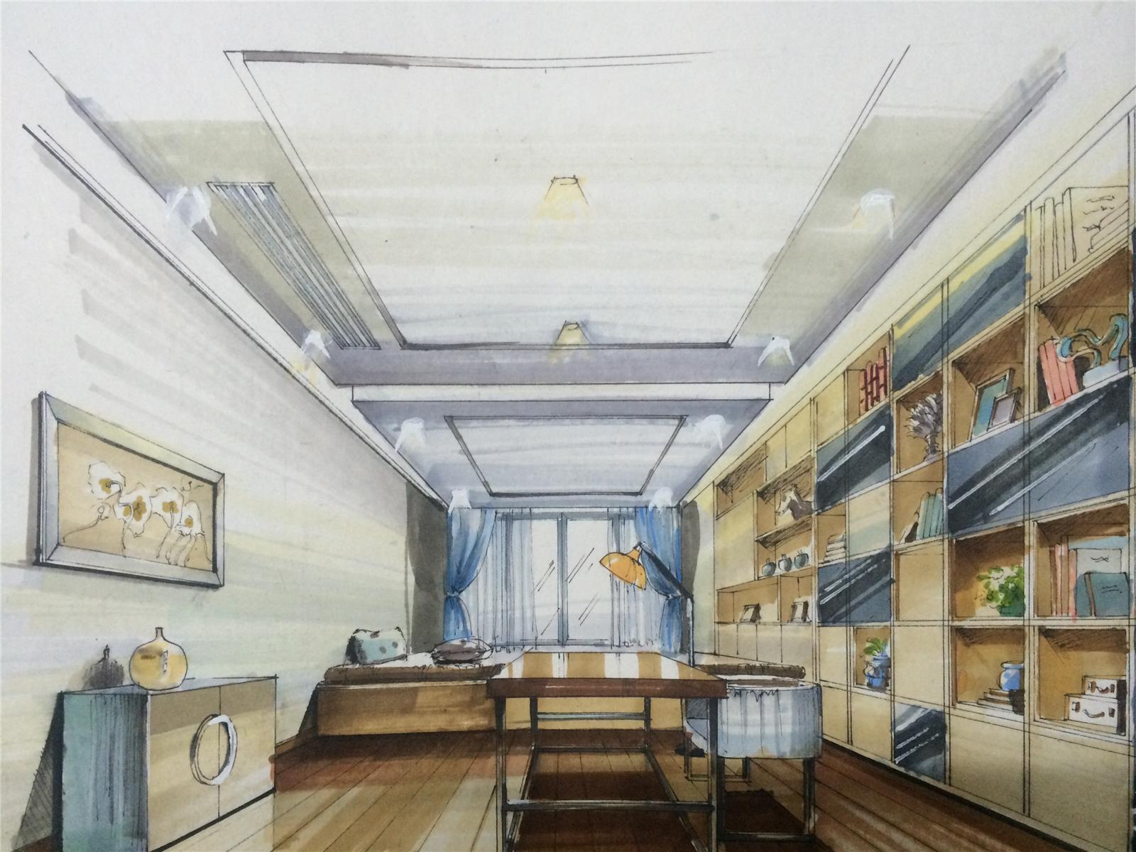 别墅设计 现代简约 书房图片来自莫川王远在君临天下-现代风格的分享