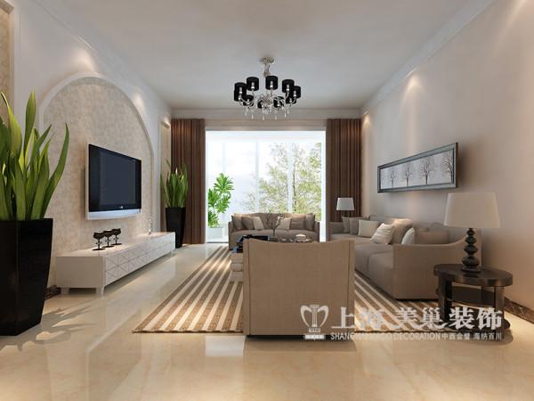 郑州东方银座装修三室两厅户型效果图——客厅全景设计