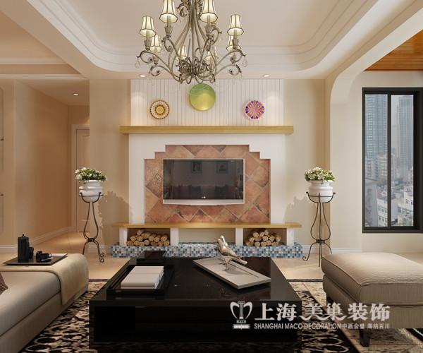 华夏明珠装修欧式混搭样板间效果图三室两厅125平户型案例——客厅电视背景墙设计