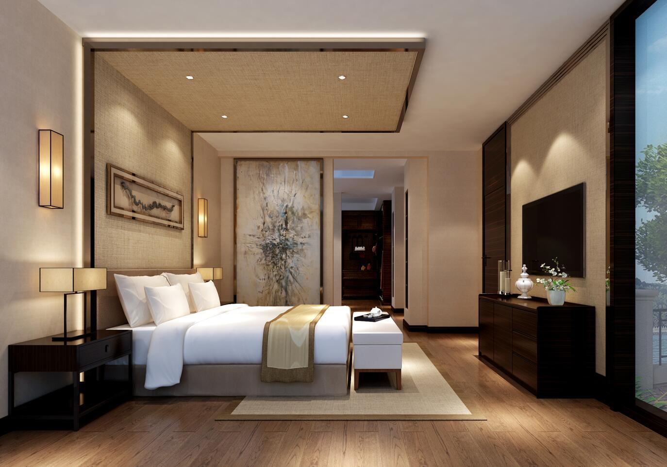 东郊华庭 装修设计 新中式风格 腾龙设计 曹晖作品 卧室图片来自设计师曹晖在东郊华庭别墅装修新中式设计的分享