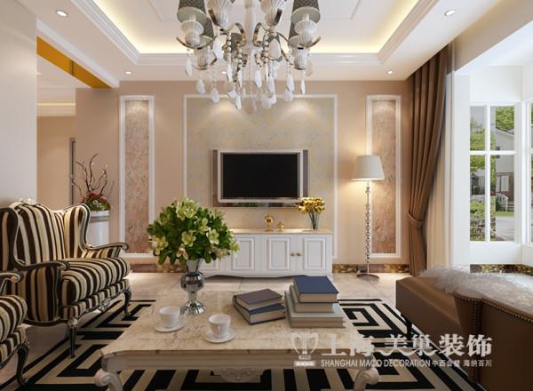 兰溪谷装修效果图赏析三室两厅120平户型案例——客厅电视背景墙布局