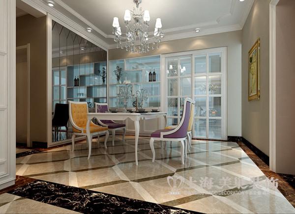 商丘上东一品装修127平三居室案例简欧效果图——餐厅全景效果图