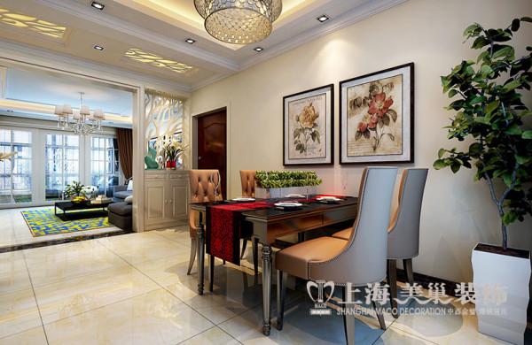 银河丹堤3室2厅装修简欧样板间140平案例——餐厅效果图