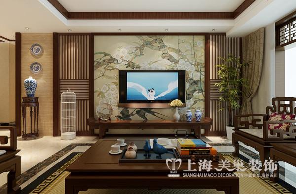 郑州移动公司家属院装修效果图新中式风格设计——客厅样板间电视背景墙设计效果图