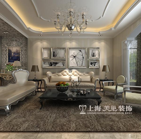 新乡建业联盟装修效果图简欧风格三室两厅160平户型案例赏析——客厅沙发背景墙设计