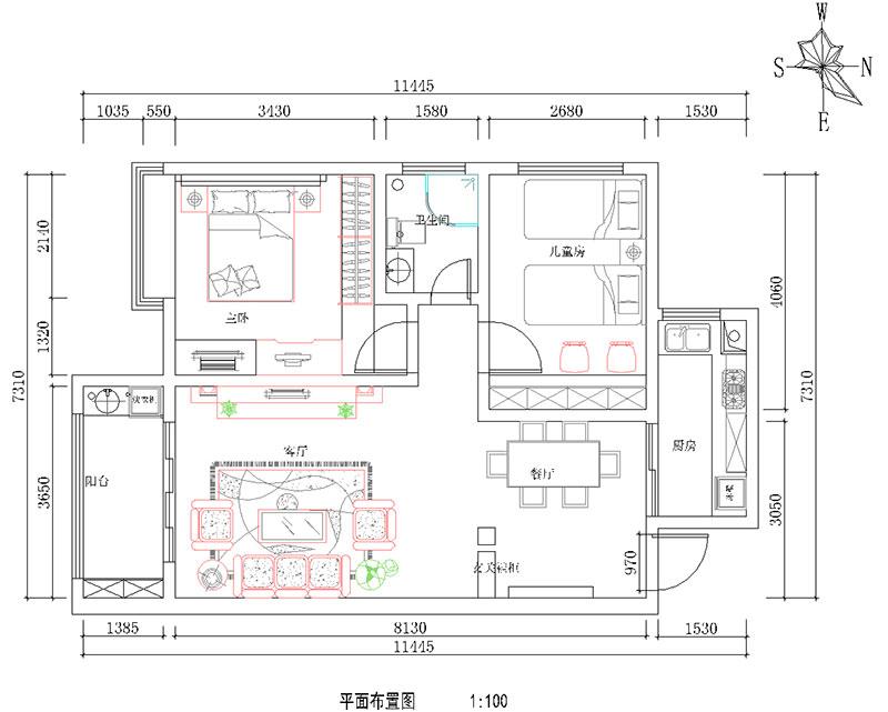 二居 简约 现代 尚城国际 户型图图片来自河南美巢装饰在南阳尚城国际87平简约装修效果图的分享