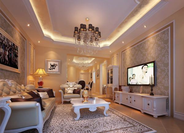 奢华 古典法式客厅  设计理念:白色调为主,灯光运用暖色来烘托整体的氛围。客厅以华丽唯美的石膏线装饰,典雅的布艺沙发和精致的电视柜给人一种完美的法式浪漫风情的享受。 亮点:独特的吊顶,油画,唯美的家具