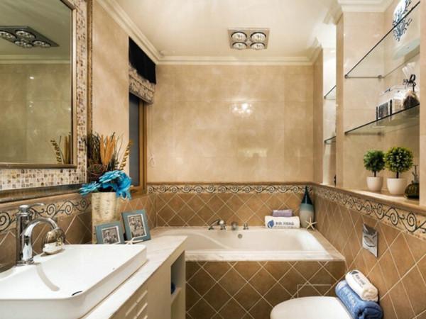 宽敞明亮的卫浴间,高品位的装饰情调,又不失温馨气息。