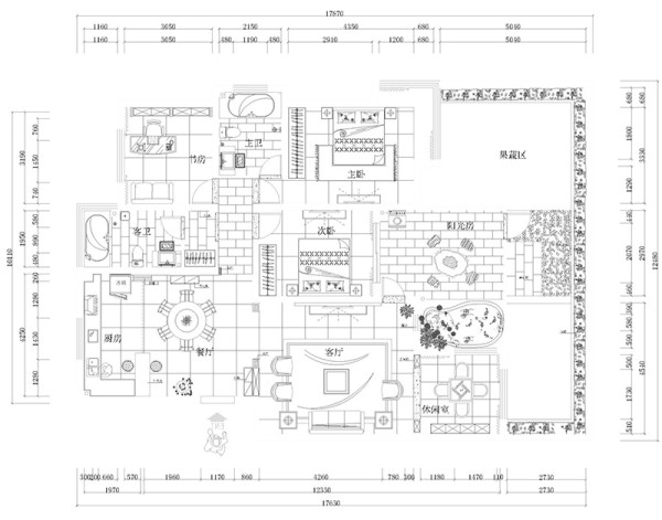 郑州意墅蓝山200平四室装修简欧样板间案例——户型平面图
