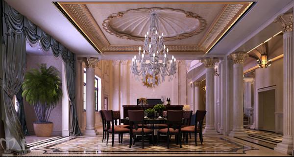 欧式装修案例自建别墅680平欧式效果图——餐厅效果图
