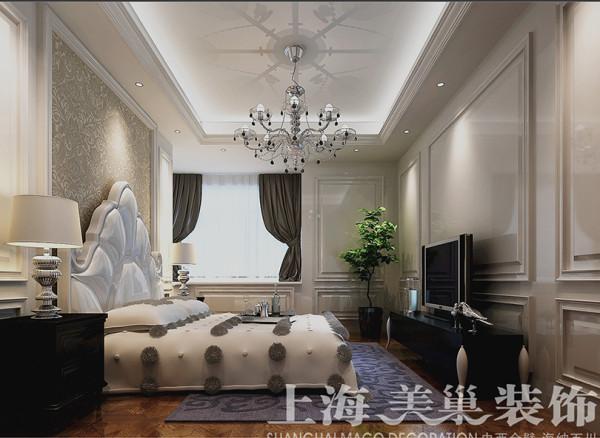意墅蓝山四房装修200平样板间简欧设计效果图——卧室全景布局