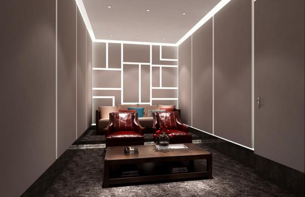 地下影音室--房间内的反光灯槽营造出另一个三维空间。