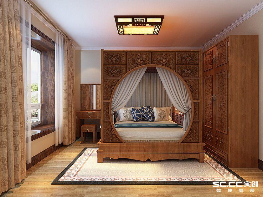 三居 别墅 中式风格 三居设计图 新中式风格 实创装饰 实创装修 北京实创 实创样板间 卧室图片来自实创装饰都琳在五里庄三居-颇有意境的中式风格的分享