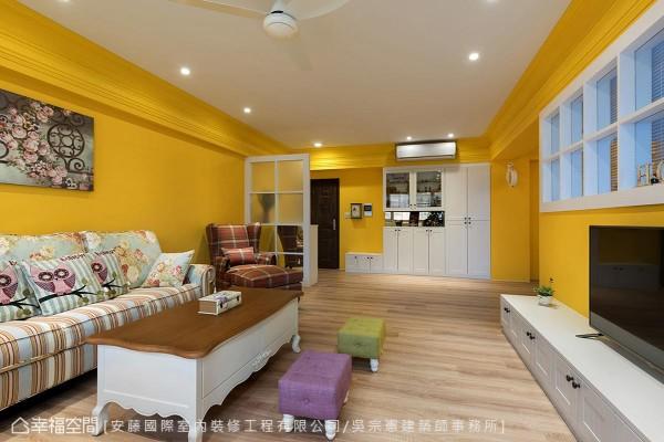 安藤国际室内装修工程有限公司/吴宗宪建筑师事务所以「色彩城堡」为题,运用饱和彩度围塑空间温度。