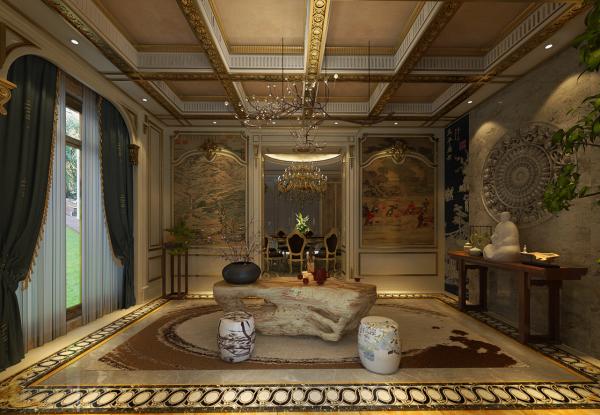茶室--既有中国传统古典文化的韵味,又有法式恢宏气势的深度感染,在家中拥有这样一间中情韵西式的茶室,自酌是雅趣,待客更彰显出高品位。