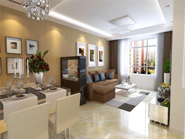 米黄色的抛釉砖搭配上现代感的咖色沙发给人一种稳重大气、明亮舒适的感觉,背景墙咖色的壁纸结合白色的石膏板抽缝造型,让背景墙体现出较好的立体感。