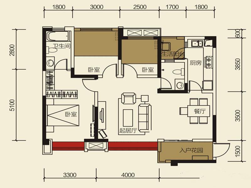现代简约 三居室 80后 户型图图片来自成都创新思维装饰工程有限公司在现代简约保利玫瑰花语的分享