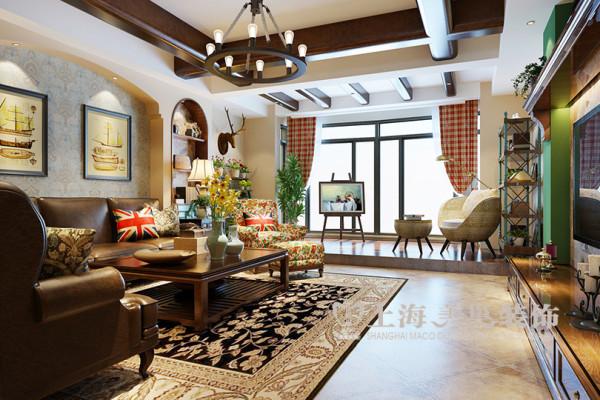 郑州市省电视台家属院三室两厅168平居室户型装修效果图美式乡村风格装修效果图——客厅样板间布局