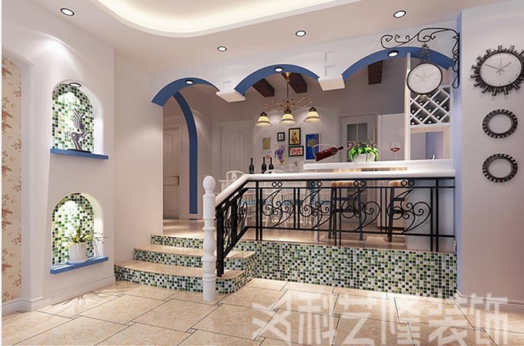 楼梯图片来自天津科艺隆装饰在翠金滩美墅岛-190㎡-地中海风格的分享