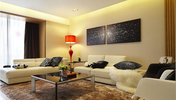 客厅:以黑白色为基调,简约整洁。乳胶漆偏乳黄给人温馨之感。