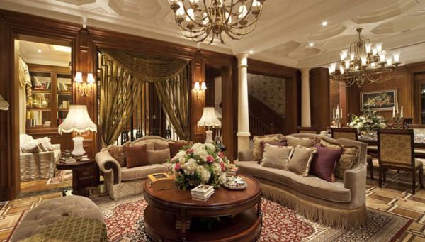 客厅:色彩搭配丰富,显得客厅大气有空间感。高端