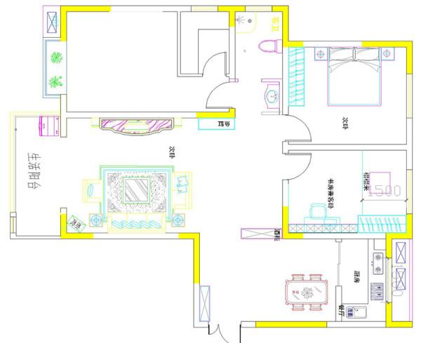 南阳宛都名邸12#4-156平三室两厅装修简欧案例——户型平面方案