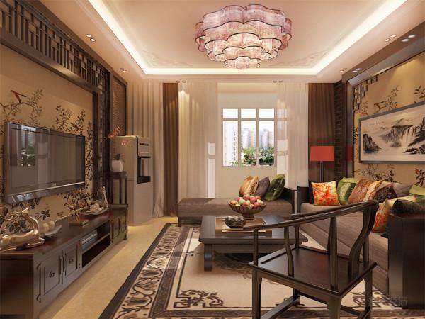 客厅整体空间以深色系木质为主为空间带来安定感,地面通铺800*800平米的地砖,墙面通铺黄色系的壁纸,增加层次之感,沙发以及电视背景墙都为深色木质,使整体空间感觉更加丰富。