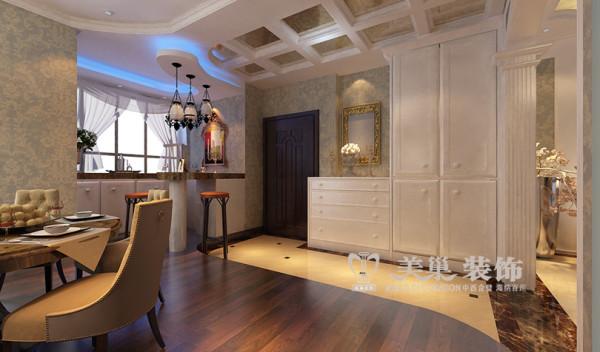 世纪村新古典装修四居室190平案例——玄关布局效果