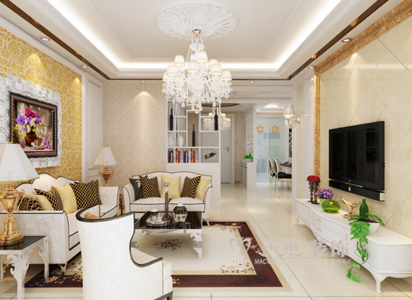 客厅全景效果图,简欧风格装修的底色大多采用白色、淡色为主,家具则是白色或深色都可以,但是要成系列,风格统一。同时,一些布艺的面料和质感很重要,比如丝质面料是会显得比较高贵的