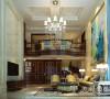 普罗旺世别墅350平装修新古典效果图案例——客厅布局全景,客厅的吊顶与房高完美结合,背景墙造型自然又舒适,进入客厅绝对让你流连忘返