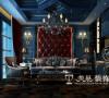 郑州普罗旺世2期别墅装修350平案例设计方案——多功能厅布局,背景墙的软包设计与空间的结合彰显了主人的华贵与时尚