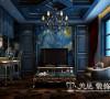 普罗旺世二期罗蔓维森350平案例装修设计——吧台设计,此处灯光与材料的搭配使人放松的同时又觉得舒适