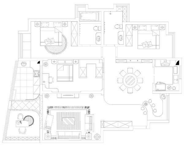 新乡世纪村190平四室两厅装修新古典案例——户型平面布局方案