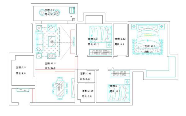 南阳桂花城146平三室两厅装修现代风格案例——户型平面布局方案