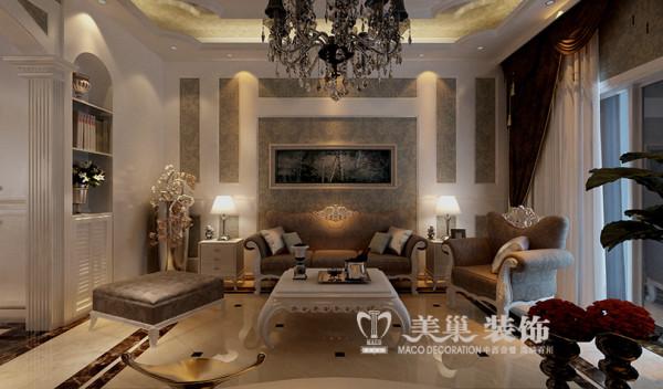 新乡世纪村4室2厅装修新古典风格190平样板间——沙发布局