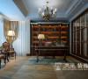 普罗旺世新古典装修别墅350平效果图——书房布局,采光是一大特点,书架的造型绝对是空间的另一亮点