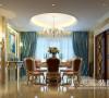 罗蔓维森装修新古典350平样板间案例——餐厅效果图,吊顶与餐桌的结合体现了家的团团圆圆和和美美~