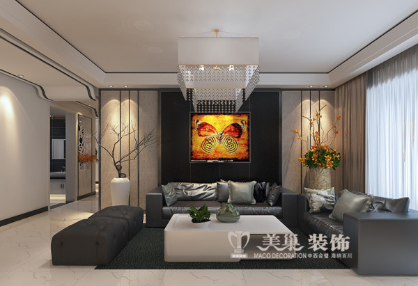 商丘商都奕景3室2厅现代装修案例样板间——客厅沙发布局
