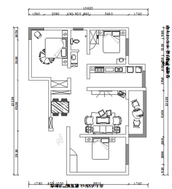 南阳东华新村装修效果图平面户型布局方案图——三室两厅110平居室布局