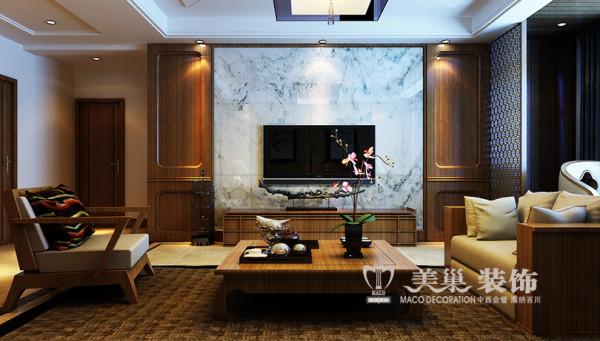 新乡金宸国际183平四室两厅装修新中式案例效果图——电视墙设计