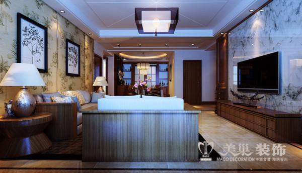 金宸国际4室2厅装修新中式案例183平样板间——客餐厅布局