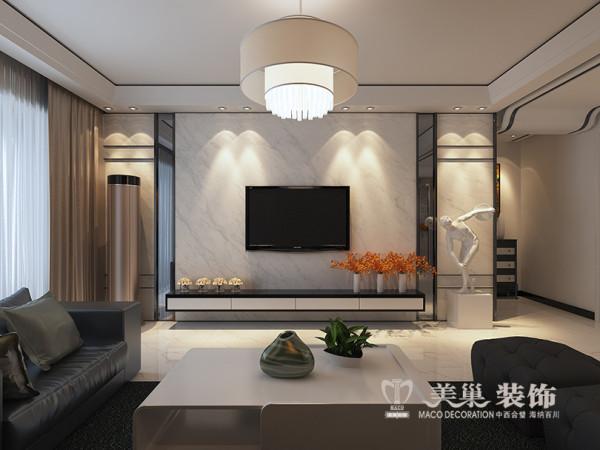 商都奕景140平三室两厅装修现代效果图——电视背景墙,整体色调偏冷,采用白漆和黑色面板为主色调,灰色的沙发背景,白色石材电视墙,软装配饰颜色鲜艳