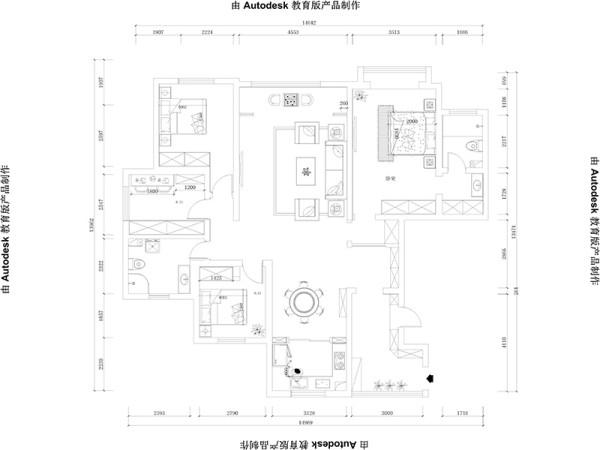 新乡金宸国际8号楼183平四室两厅装修新中式案例——户型平面布局