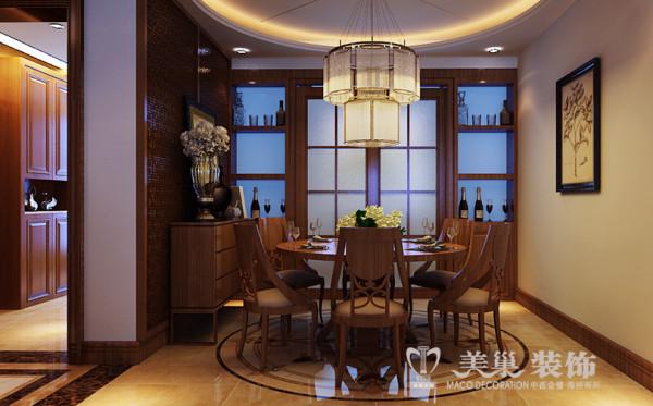 新乡金宸国际装修四房案例新中式效果图——餐厅全景布局
