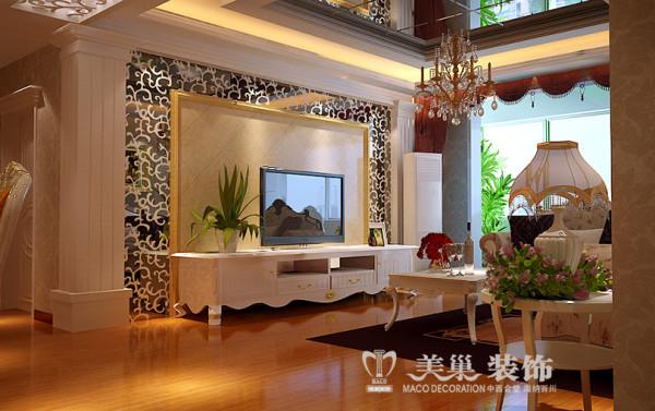 南阳建业森林半岛装修效果图——客厅样板间效果图电视背景墙设计