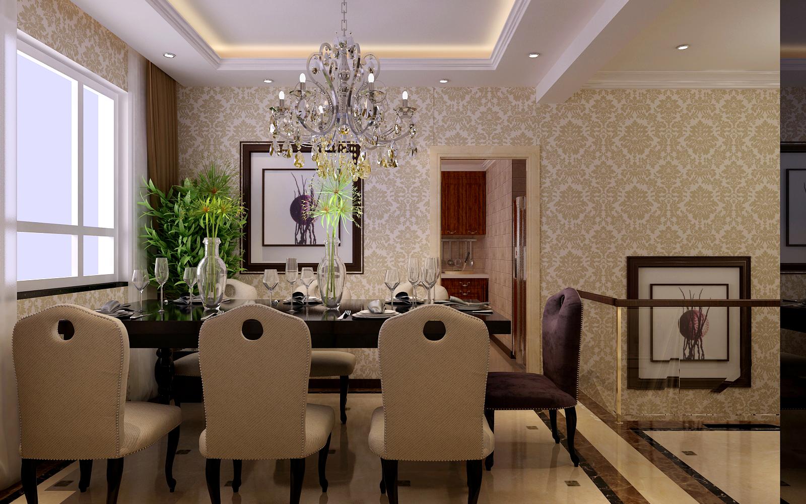 欧式 四居 凯旋门 餐厅图片来自百家设计小刘在凯旋门164平简欧风格的分享