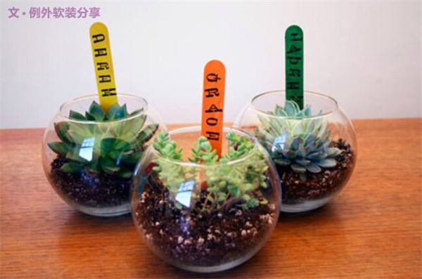 1 报废的鱼缸试试再次利用   油缸植物制作很简单,只需要将鱼缸底部放一层玻璃珠,再将多肉植物放入鱼缸内,如果不够固定可往里面加些泥土。再来点个性的,DIY的冰淇淋木棍用来装饰再好不过了。