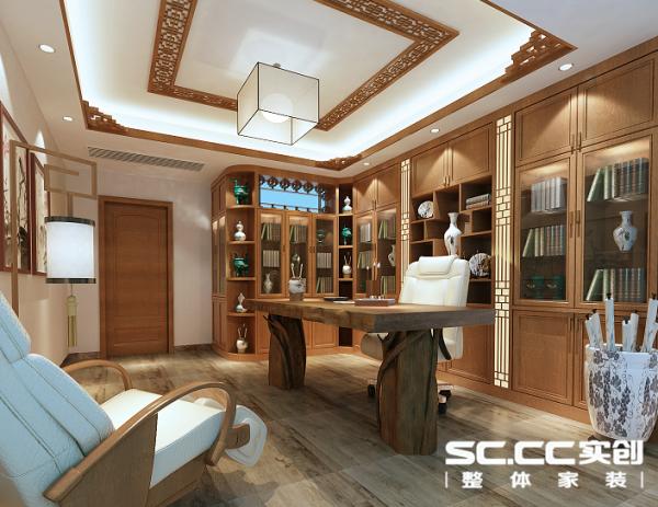 书房是主人平日养精蓄锐,舞文弄墨之宝地。整木定制的书柜简洁大方中也不忘以中式花格点缀,既满足现代人对于多功能性以及使用习惯的要求同时中式风格也一以贯之。。