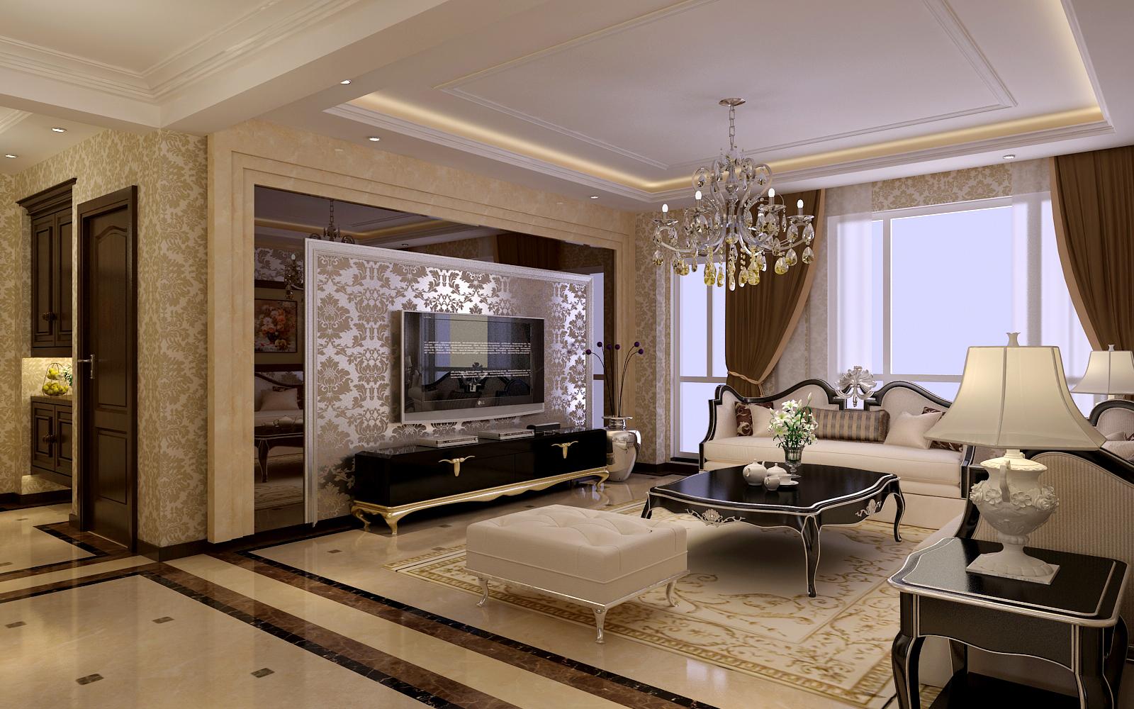 欧式 四居 凯旋门 客厅图片来自百家设计小刘在凯旋门164平简欧风格的分享