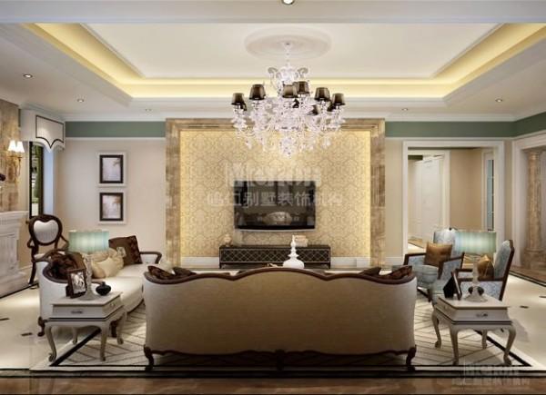 客厅整体感觉干净、利落,除了必备的家具,其他设施一概从简,没有复杂的线条和花纹装饰,地面和墙面采用同种石材拼贴,天花和地面及墙面的色调和风格一致,保持了空间的整体和统一,也使空间更具人性化。